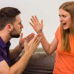 angry wife and husband are having conflict